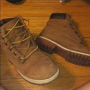 Dark tan timberlands